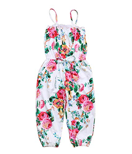 Kids Toddler Little Baby Girls Summer Outfit Sleeveless Floral PrintOverall Cropped Romper Jumpsuit Trousers Clothes (Floral, 6-7 ()