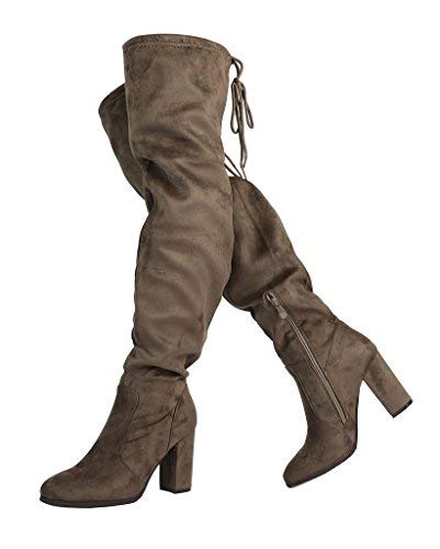 4d41c4d6635 DREAM PAIRS Women s New Shoo Khaki Over The Knee High Heel Boots Size 5 B(
