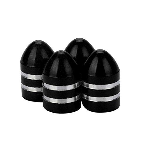 Ecosin Bullet Valve Cap 4x Aluminum Bullet Car Truck Air Port Cover Tire Rim Valve Wheel Stem Caps (Black) ()