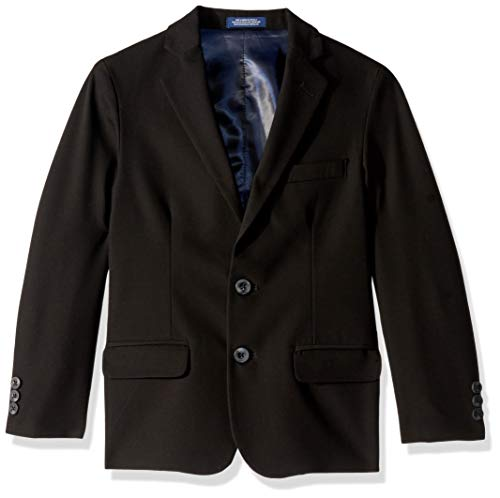 IZOD Boys' Big Bi-Stretch Blazer Jacket, Black, 8