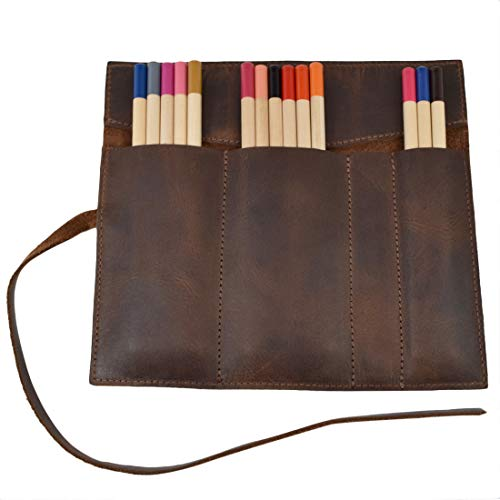 Hide & Drink, Leather Rollup Pen/Pencil Storage Case/Pouch Organizer Handmade Includes 101 Year Warranty :: Bourbon Brown by Hide & Drink