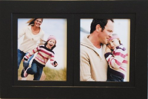 My Barn Wood Frames – 2-Opening 8×10 Black Poplar Wood Collage Picture Frame – Multi-Picture Frame for Two 8×10 Photos with Lightly Distressed Edges for Horizontal or Vertical Display, Black For Sale