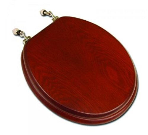 PlumbTech 5B3R3-15CH Round Toilet Seat in Traditional Design, Red Oak with Cherry Finish