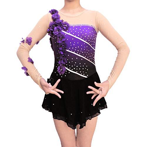 Purple Gradiant Ice Figure Skating Dress - for Girls for Women Long-Sleeved Beaded Roller Skating Skirt Flower Deco (Womens Molded Figure Skates)