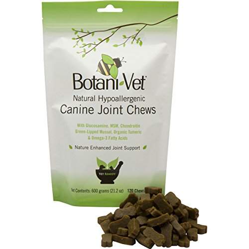 Glucosamine Natural Joint Chews for Dogs Hypoallergenic by BotaniVet - 120 Count - Extra Strength Hip Supplement - MSM. Chondroitin, Green-Lipped Mussel, Organic Tumeric, Omega-3s, Vit E, Made in USA
