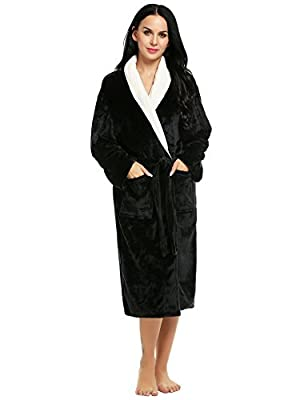 Ekouaer Women's Robe Mens Bathrobe Super Plush Microfiber Fleece Spa Robe