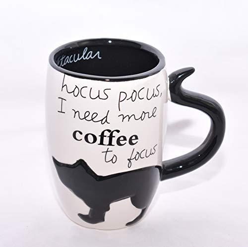 New 18oz Black Cat Hocus Pocus I Need More Coffee To Focus Ceramic Coffee Mug Cup ()