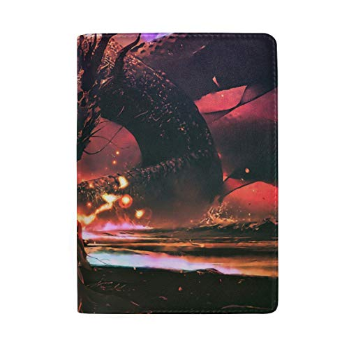 Science Fiction Dragon Girl Portable Leather Passport Holder Cover Case for Travel Luggage One Pocket