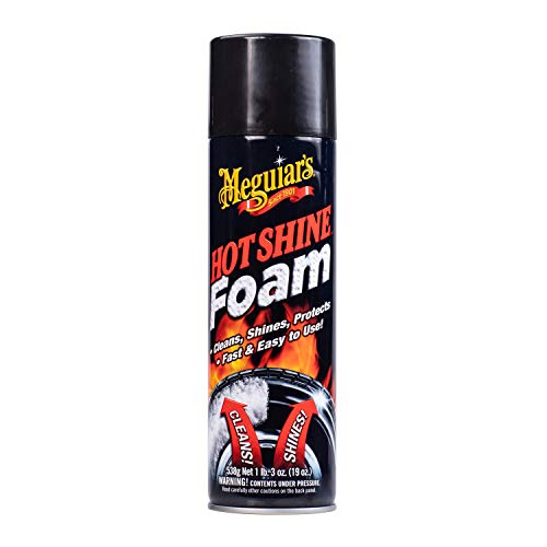(Meguiar's Hot Shine Tire Foam - Aerosol Tire Shine for Glossy, Rich Black Tires - G13919, 19 oz)