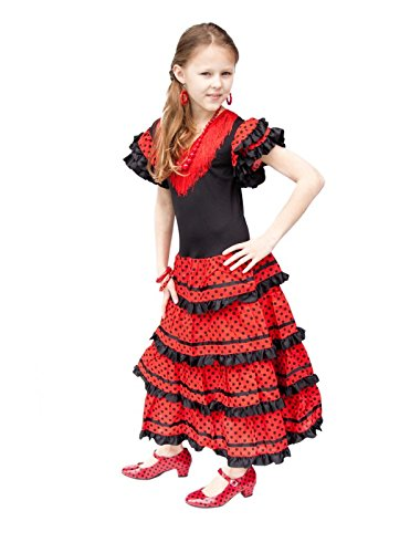 Childs Flamenco Dress (La Senorita Spanish Flamenco Dress Princess Costume - Girls / Kids - Black / Red (Size 6 - 5-6 years, black red))