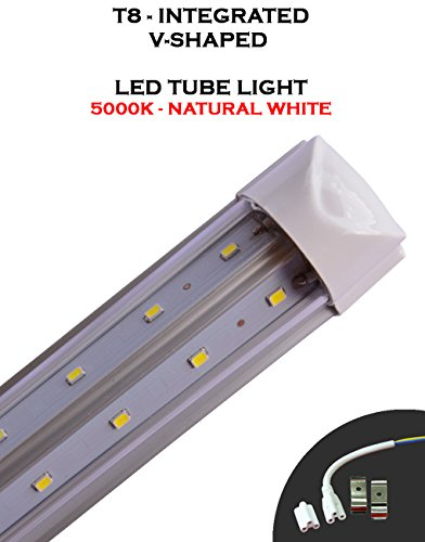 (Pack of 10 Lights) T8 Integrated 8 Feet 65 Watt V Shaped (270 Degrees Viewing Angle) 5000K Clear Lens Plug and Play Tube Light for Cooler Freezer by Plan Hoot (Image #2)