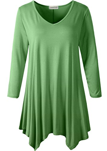 LARACE Womens V-Neck Plain Swing Tunic Top Casual T Shirt(2X, - Sleeve Shirt Knit Kimono