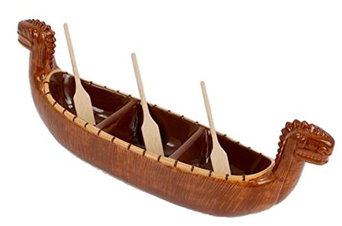 180 Degrees Tiki Boat Divided Ceramic Serving Dish