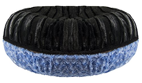 Bessie and Barnie Signature Black Puma/ Blue Sky Extra Plush Faux Fur Bagel Pet / Dog Bed (Multiple Sizes)