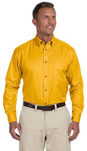 Harriton Men's Easy Blend Long-Sleeve Twill Shirt, Small, Sunray Yellow - Harriton Mens Easy Blend