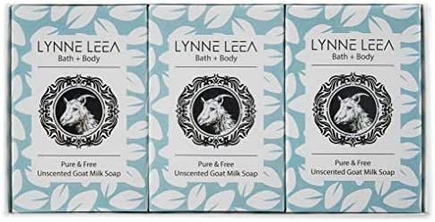 Lynne Leea All-Natural Unscented Goat Milk Soap For Sensitive Skin Gift Box Set of 3-4 ounce Bars