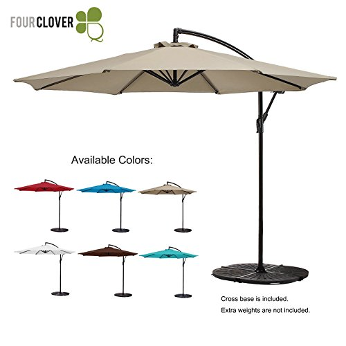 FOUR CLOVER 10 Ft Patio Umbrella Offset Hanging Umbrella Outdoor Market Umbrella Garden Umbrella, 250g/sqm Polyester, with Cross Base and Crank (Beige)