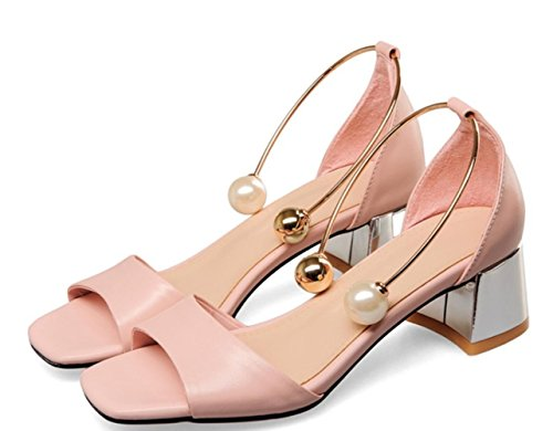 YCMDM WOMEN High Heels Sandalen Rindsleder Office Party Abendschuhe Schwarz Rosa Weiß , pink , us6.5-7 / eu37 / uk4.5-5 / cn37