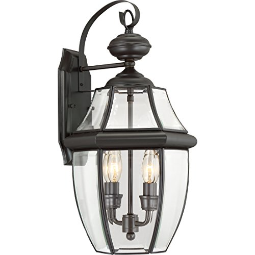 "Quoizel NY8317Z Newbury Outdoor Wall Lantern Wall Mount Lighting, 2-Light, 120 Watts, Medici Bronze (20""H x 11""W)"