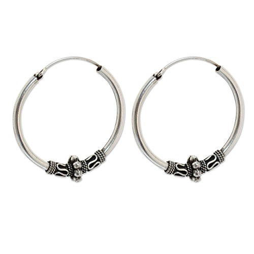 NOVICA .925 Sterling Silver Hoop Earrings