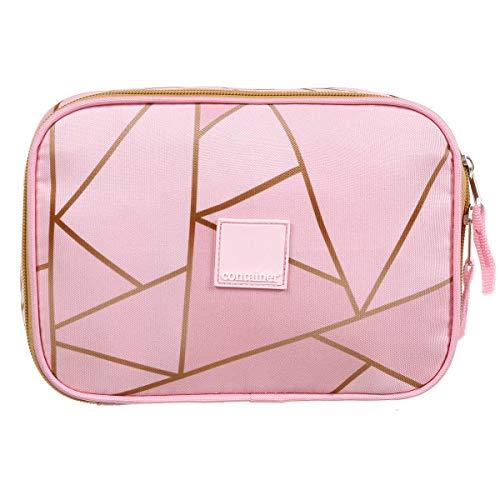Estojo Soft Luxo Container Fashion Pink Geométrico Dermiwil, Rosa