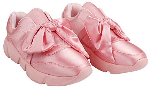 Mujeres Slip-on Round Toe Bow Lace Up Lightweight Satén Ribbon Platform Moda Sneaker Mauve