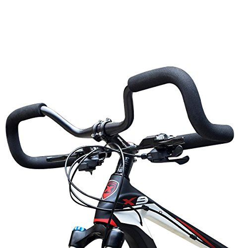 USDREAM Ultralight Butterfly Handlebar Trekking Handle Bars with Sponge Foam Tube Grips for Cycling Road Mountain Bike and Bicycle Touring & Commuting, Aluminium Alloy, Black