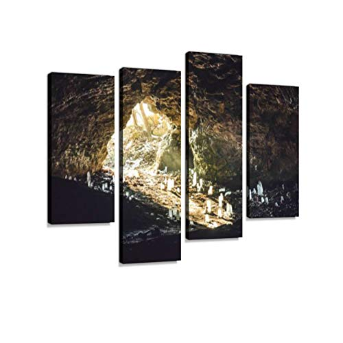 Fabulous cave Inside Entrance of The cave to The Ground Stalactites Shines Sunlight Canvas Wall Art Hanging Paintings Modern Artwork Abstract Picture Prints Home Decoration Designed Framed 4 Panel ()