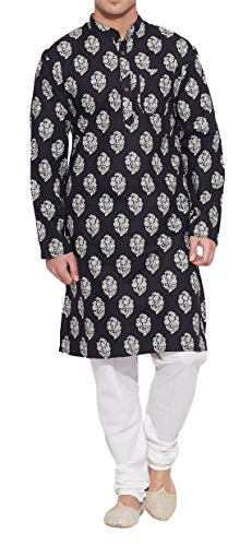 ShalinIndia Men Cotton Long Kurta Nehru Collar 3 pockets-Black-Size 40 Inch ()