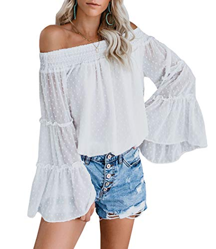 (EasySmile Womens Off The Shoulder Tops Blouses Summer Casual Chiffon Bell Sleeve Ruffle Tunic Shirts S-XXL White)