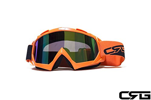 - CRG Sports Orange Motocross ATV Dirt Bike Off Road Racing Goggles T815-7-6A Multi-Color Lens Orange Frame