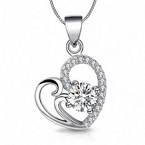 MR.S Silver Crystal Diamond Accent Heart-Shaped Pendant Chain Necklace for Women Teenage Girls ()