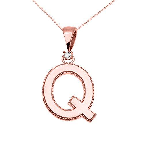 """Collier Femme Pendentif 14 Ct Or Rose Poli Élevé Milgrain Solitaire Diamant """"Q"""" Initiale (Livré avec une 45cm Chaîne)"""