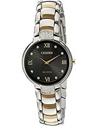 Women's 'Eco-Drive Diamond' Quartz Stainless Steel Dress Watch, Color:Two Tone (Model: EX1464-54E)