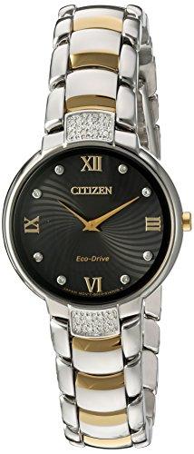 Citizen Women's 'Eco-Drive Diamond' Quartz Stainless Steel Dress Watch, Color:Two Tone (Model: EX1464-54E)