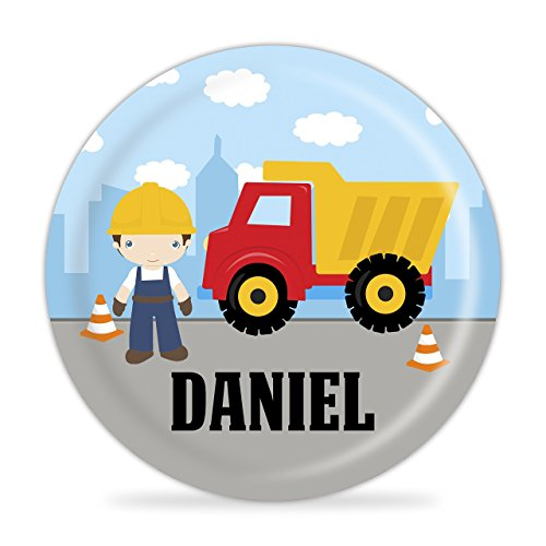 Construction Truck Plate - Boy Construction Worker, Truck Melamine Personalized Plate