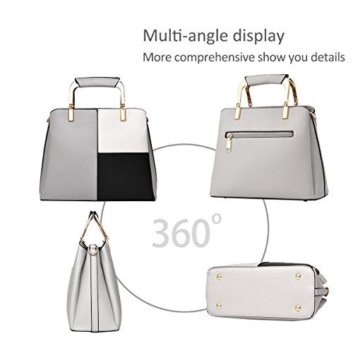 for Bag Gray Black Crossbody Handbags Bag Leather Light Women Tote Color Shoulder Simple PU Lady NICOLE Messenger amp;DORIS Satchel zqwgz7