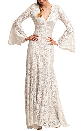 Sheath V-neck Court Train - Wanhua Long Bell Sleeve V Neck Vintage Lace Wedding Dress Bridal Gown Ivory 8