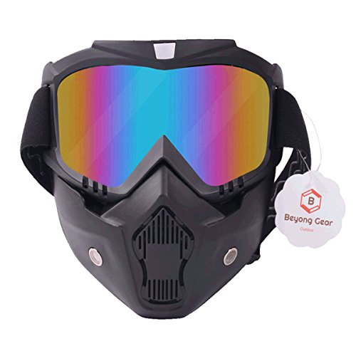 (Paintball Goggles Masks, Motorcycle Ski Face Helmet Mask with Detachable Goggle for Motocross Riding Motorbike Cycling Ski Outdoor Activities Protective Safety Anti Fog Glasses by BeyongGear)