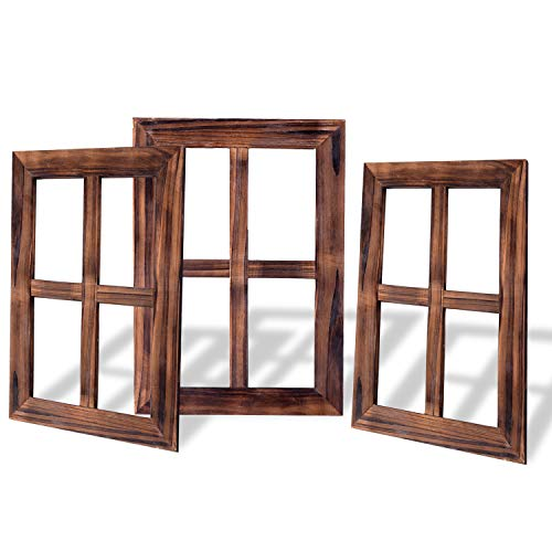 RHF 4 Pane Rustic Window Frame Wall DecorAntique Window Frame Empty Frames Wall Mounted Farmhouse Signs for Home3 Pieces Pack