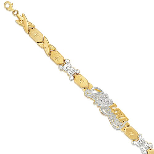 "7 Inch 10k Two-Tone Gold Stampato Xoxo Hugs and Kisses with Bear and Heart ""I Love You"" ID Bracelet by SL Gold Imports (Image #2)"