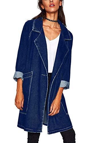 Tendenza Giacca Mieuid Lunghi Baggy Maniche Cappotto Chic Donna Fidanzato Jeans Autunno Elegante Lunghe Cute Blau Outerwear Giacche Primaverile Fashion Tempo Blu Libero aCCqw5p