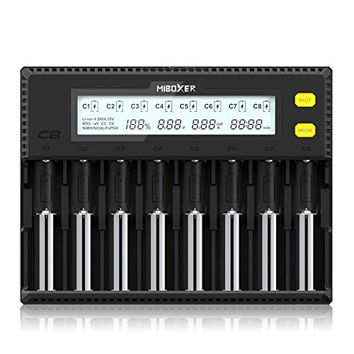 Miboxer 18650 Battery Charger 8 Bay Intelligent Automatic LCD Display for Li-ion LiFePO4 Ni-MH Ni-Cd AA AAA C 18700 21700 20700 26650 18350 17670 RCR123 Batteries and More