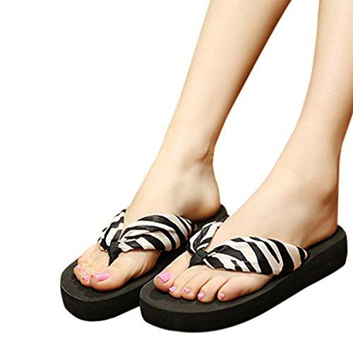 Womens Bohemian Flip Flop Sandals Summer Beach Slippers Anti-skid Mules Mid-Heel Wedge Thong Sandals Zebra, Black Sole