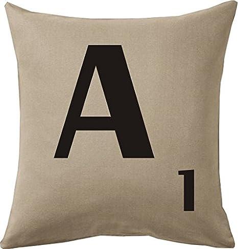 Cojines con la LETRA A imitación fichas de Scrabble o apalabrados Medida 45X45 cm. Color beig. Solo funda: Amazon.es: Hogar
