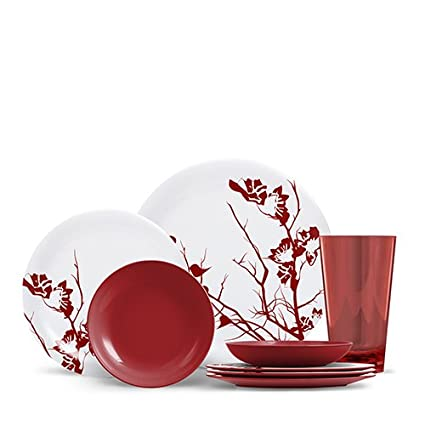 16 Piece Melamine Dinnerware Set - Dogwood Floral - Merlot Red  sc 1 st  Amazon.com & Amazon.com | 16 Piece Melamine Dinnerware Set - Dogwood Floral ...