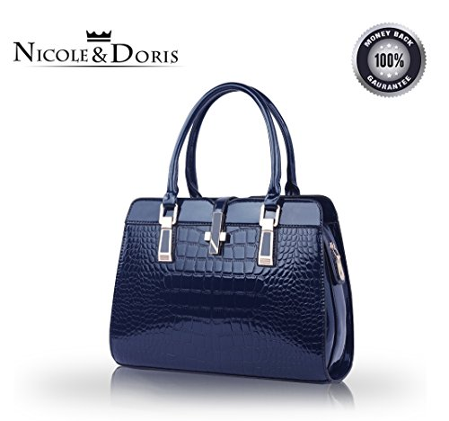 Nicole&Doris ladies handbags new fashion patent leather shell portable shoulder Messenger bag for women(Navy) ()