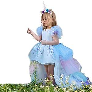 JiaDuo Girls Unicorn Costume Princess Party Dress with Rainbow Tutu Train & Headband