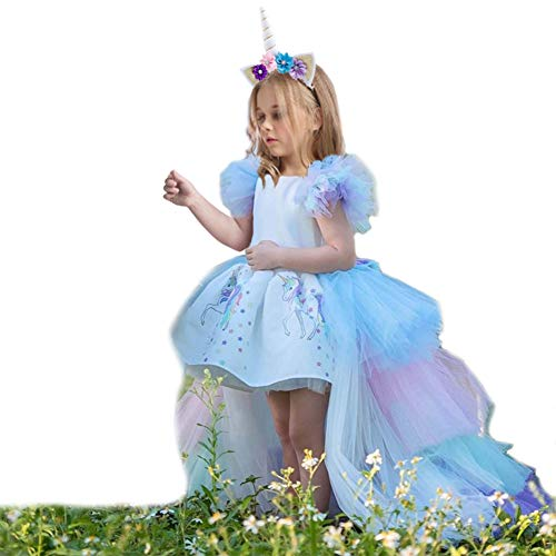 JiaDuo Girls Unicorn Dress Party Costume, Rainbow Tutu Train & Unicorn Headband 2-3 Years]()