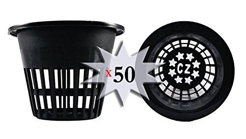 Heavy Duty Net Pot - 3 inch Net Cups HEAVY DUTY Pots WIDE RIM Design - Orchids • Aquaponics • Aquaculture • Hydroponics Slotted Mesh for Kratky Wide Mouth Mason Jars (50 BLACK Cz All Star Round)